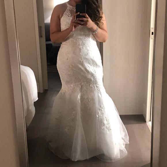 Davids Bridal Dresses Jewel Illusion Halter Lace Wedding Dress